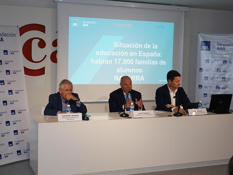 Jáuregui, Taberna y Alfonso en la presentación de los datos de Educa 2020.