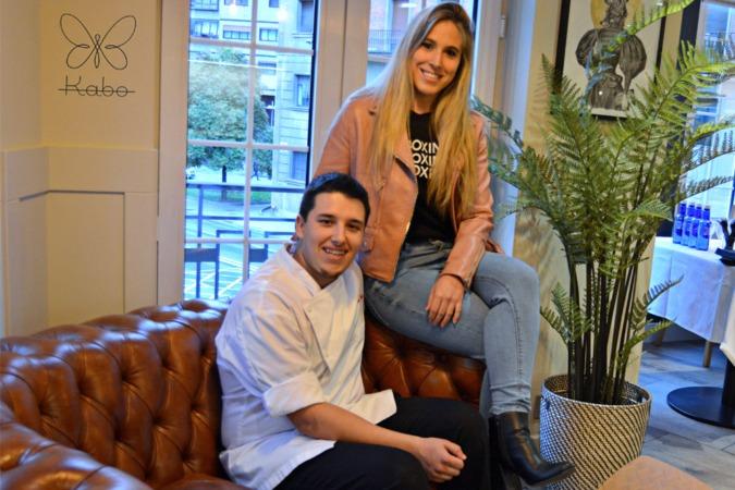 Aarón Ortiz y Jaione Aizpurua en su restaurante Kabo. (Fotos: Miguel Suárez)