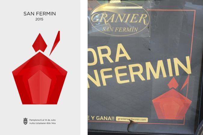 A la izquierda, en original de Xabier Iriarte, y a la derecha su reproducción en un cartel de la panadería Granier.