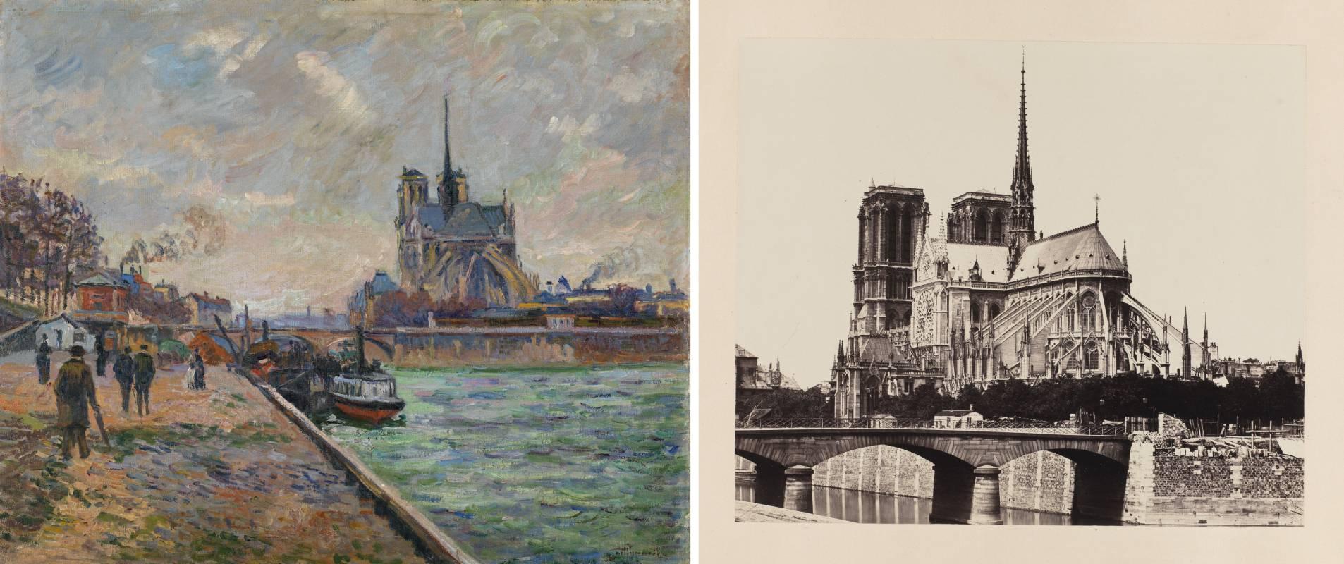'El puente del Arzobispado y el ábside de Notre-Dame de París', de Armand Guillaumin y 'Vista posterior de Notre Dame de París', de Édouard Baldus.
