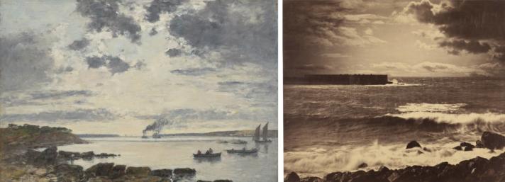 'Puerto de Brest', de Eugène Boudin y 'La gran ola', de Gustave Le Gray.