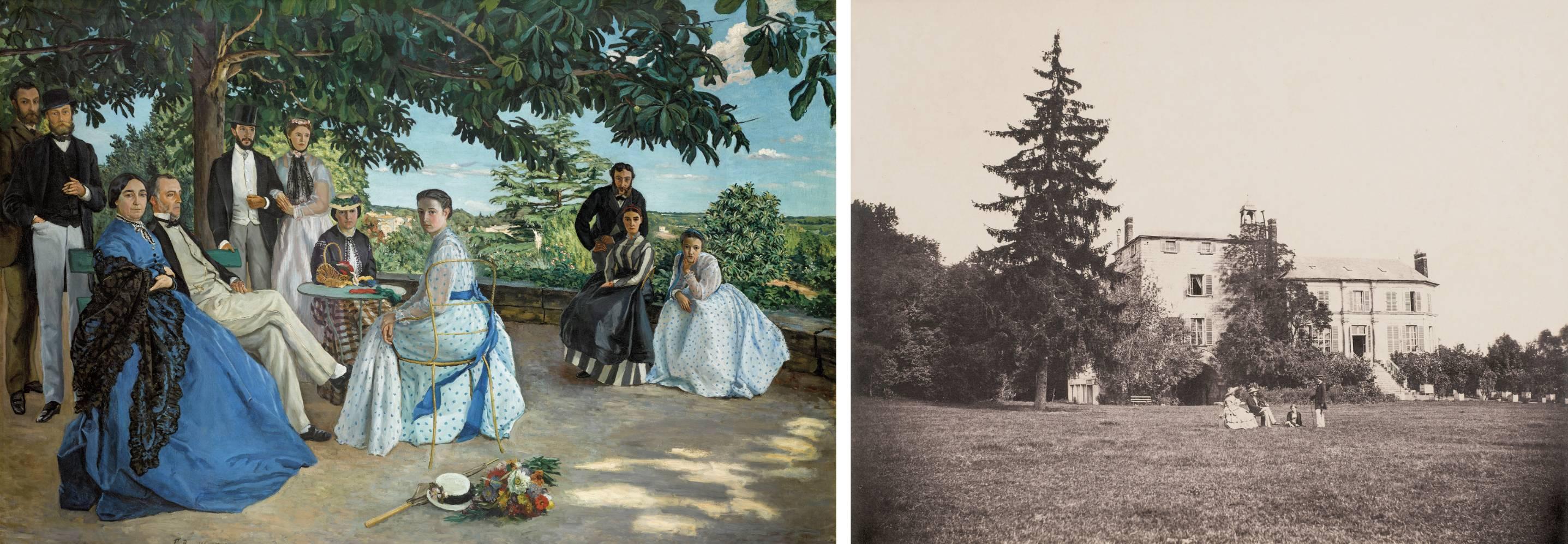 'Reunión familiar', de Frederic Bazille y 'Chateau de La Faloise, al final de la mañana', de Èdouard Baldus.