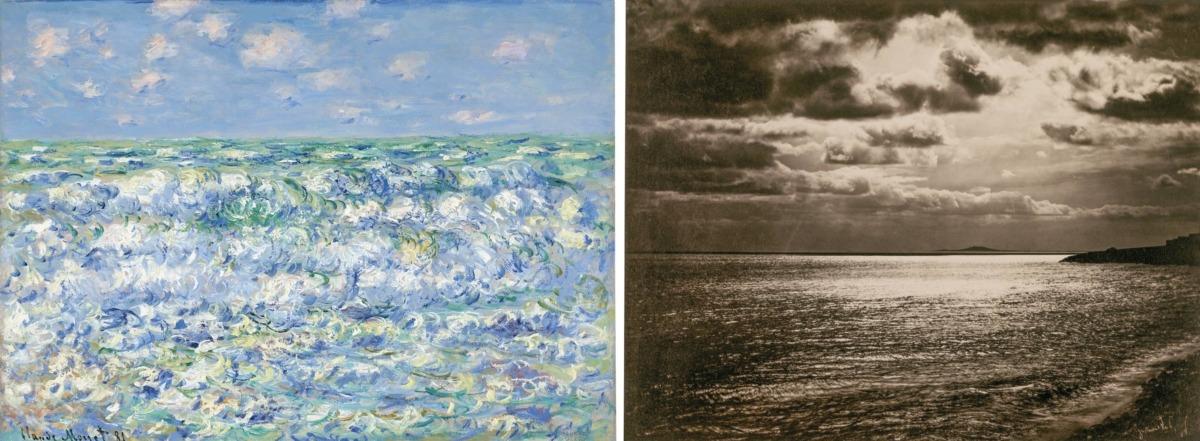 'Olas rompiendo', de Claude Monet y 'Mar Mediterráneo', de Gustave Le Gray.