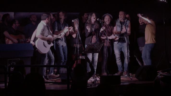 Una imagen reciente de varios artistas en el concierto del 25 aniversario del Planetario de Pamplona.
