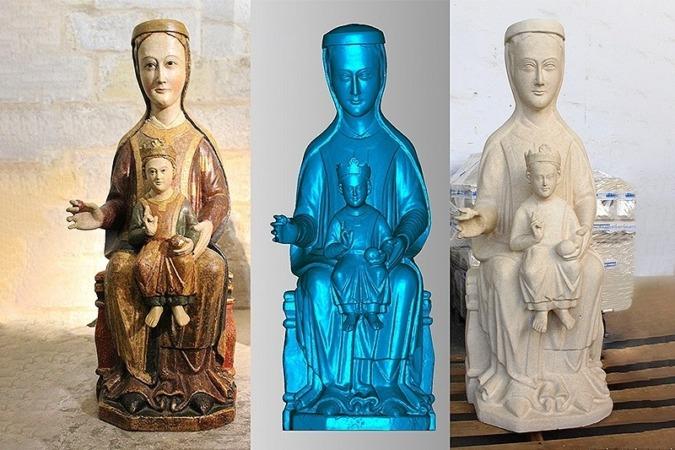 Virgen de Catalaín original. Imagen en 3D y pieza final en piedra.