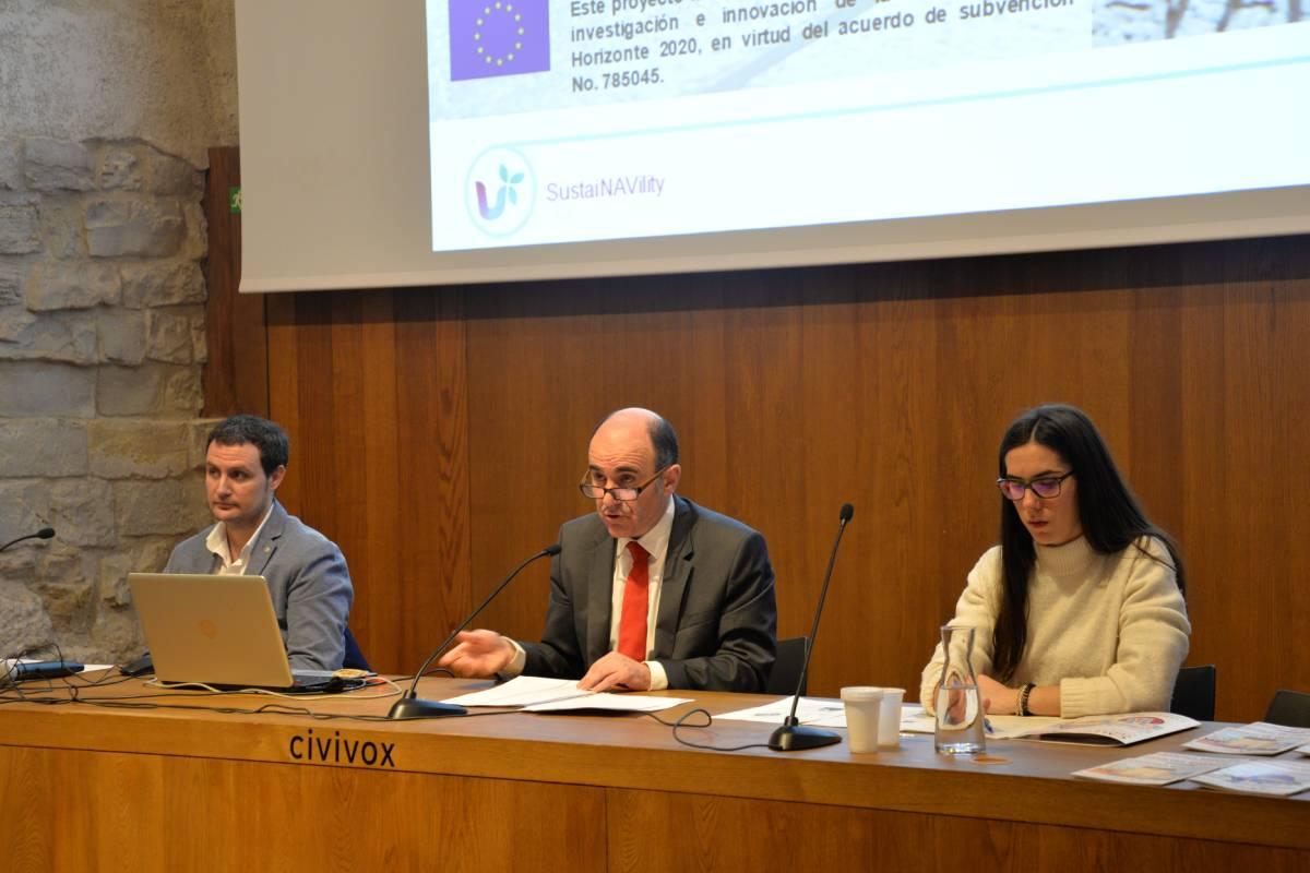 Intervención del consejero Ayerdi durante la presentación del proyecto SustaiNAVility.