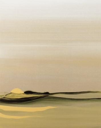 Una de sus obras de Shima, de musgos y arena. Acrílico sobre lino.