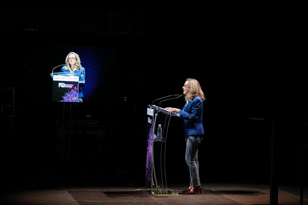La vicepresidenta Nadia Calviño, durante su intervención en el Navarra Arena.