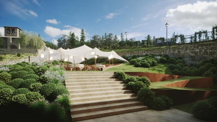 Su espacioso jardín permite eventos al aire libre.