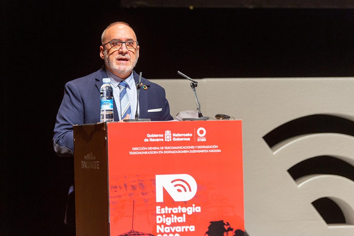 El consejero Juan Cruz Cigudosa, en un momento de su intervención en el acto, celebrado en Baluarte.