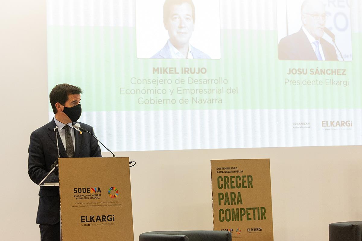 El consejero y presidente de Sodena, Mikel Irujo, abrió las jornadas organizadas por la sociedad pública y Elkargi.
